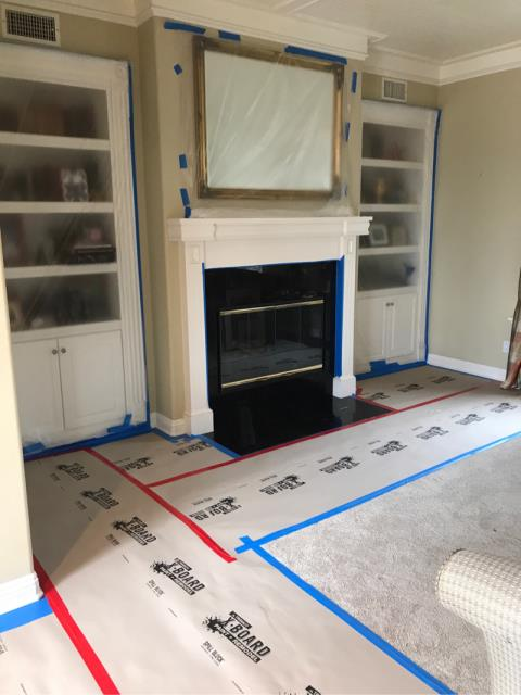 San Diego, CA - Remodel of two fireplaces and powder bathroom in the home.