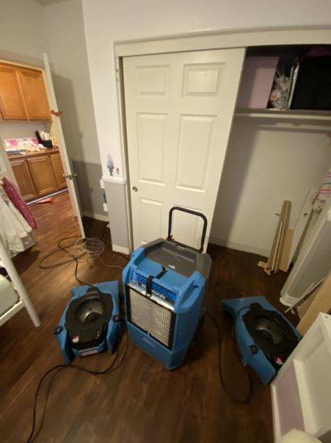 San Marcos, CA - The upstairs toilet leak caused water damage throughout the home.