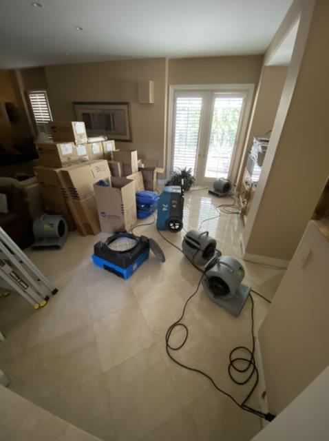 Irvine, CA - Performed emergency water mitigation services and restoration services.