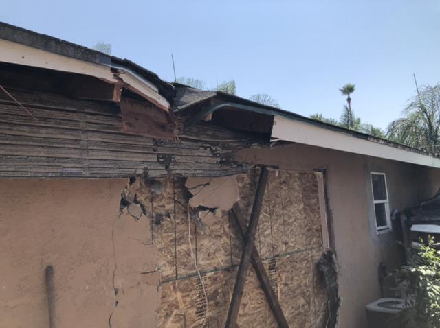 Escondido, CA - Vehicle impact to the northside of the home. Performed emergency restoration and repair services.