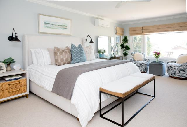 Del Mar, CA - Closet Remodel and build-out with master bedroom flooring replacement, crown molding, and custom cabinets.