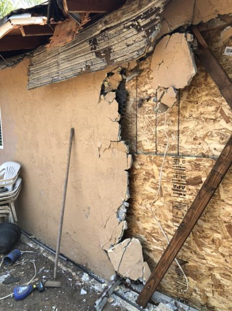 Escondido, CA - Vehicle impact on the North side of the house. Provided emergency repair services.