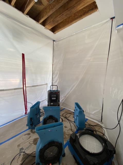 Carlsbad, CA - Leak from the upstairs bathroom into the ceiling and garage below. Performed water mitigation and dry-out services. Also performed repairs to areas affected by water damage.
