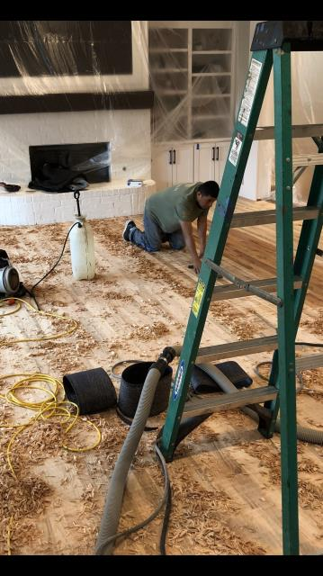 Plano, TX - Refinishing all wood floors due to water damage.
