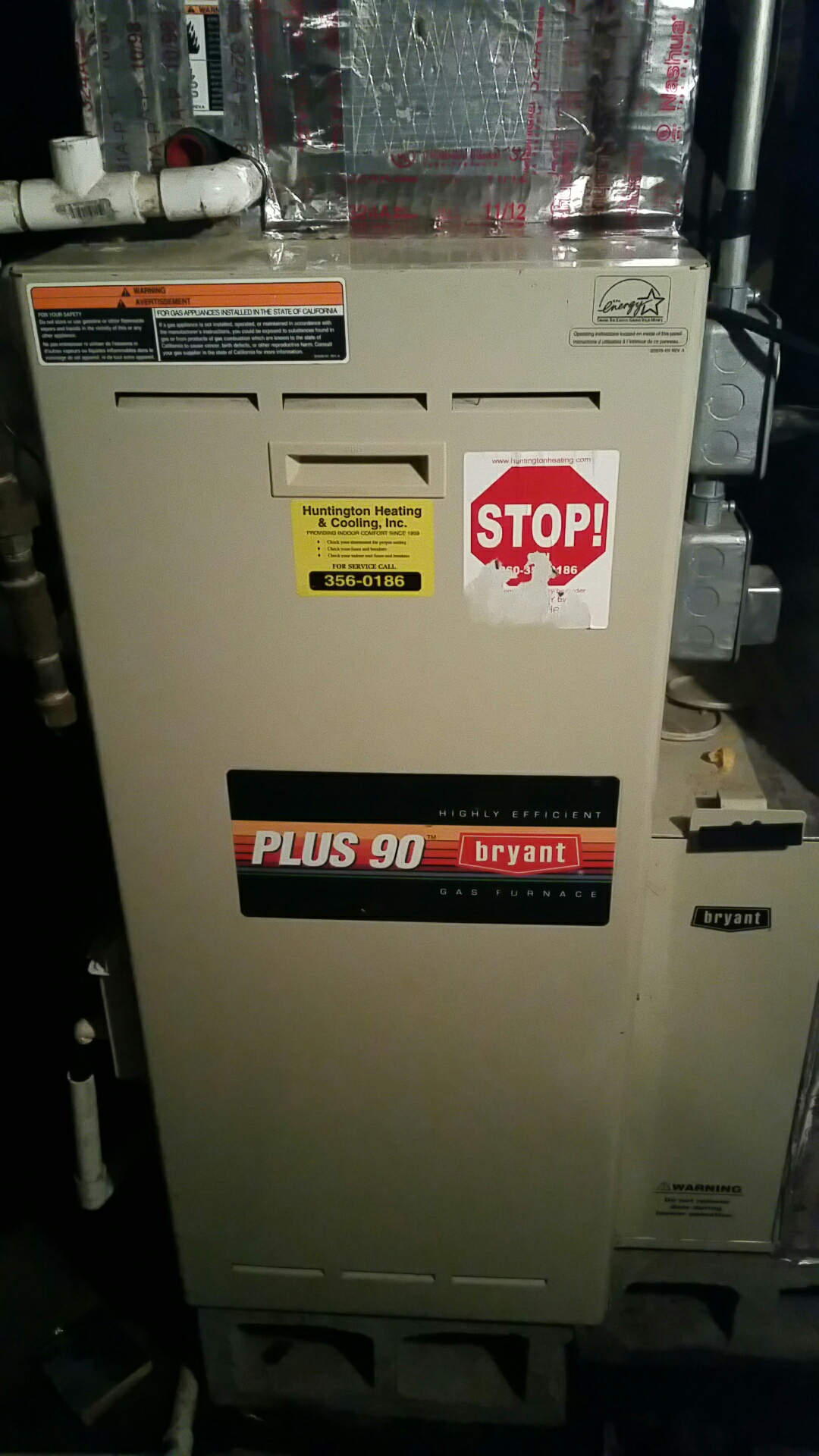 South Whitley, IN - Fall maintenance on Bryant propane gas furnace
