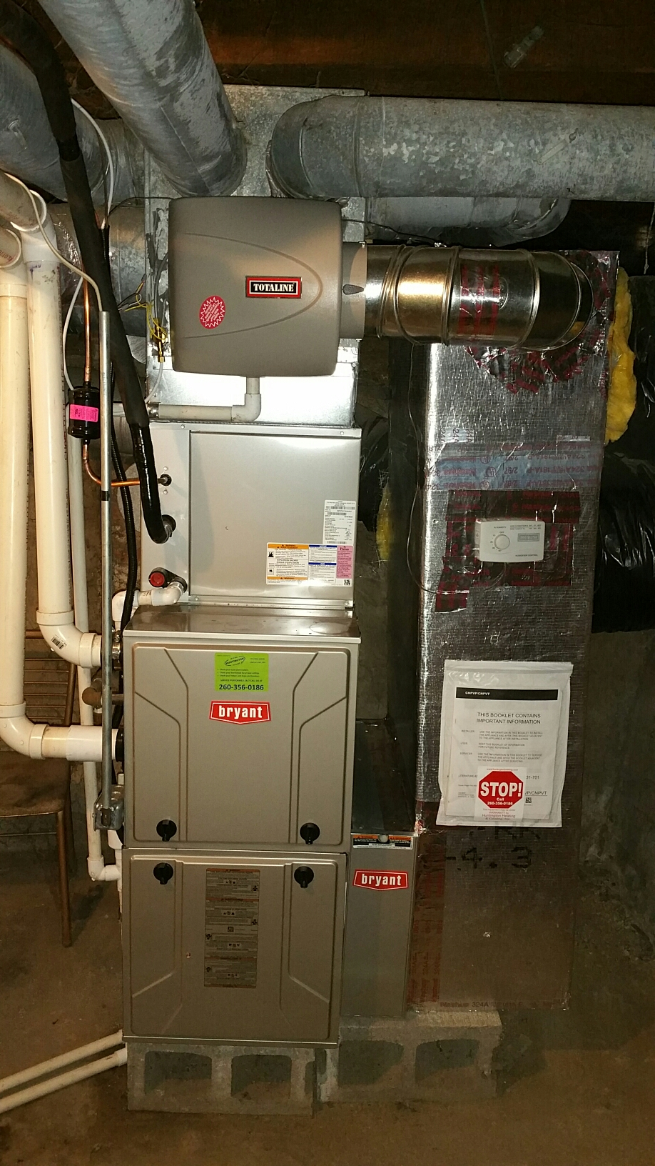 South Whitley, IN - Install bryant single stage furnace and air conditioner with surge protector, and bypass humidifier, replace natural gas water heater with electric water heater