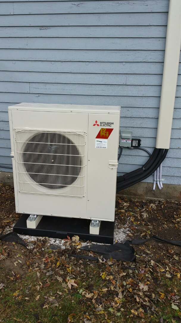 Argos, IN - Install Mitsubishi ductless heat pump with 3 indoor units