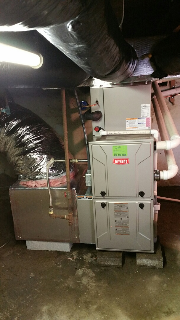 South Whitley, IN - Install bryant 2 stage furnace and air conditioner with ductwork