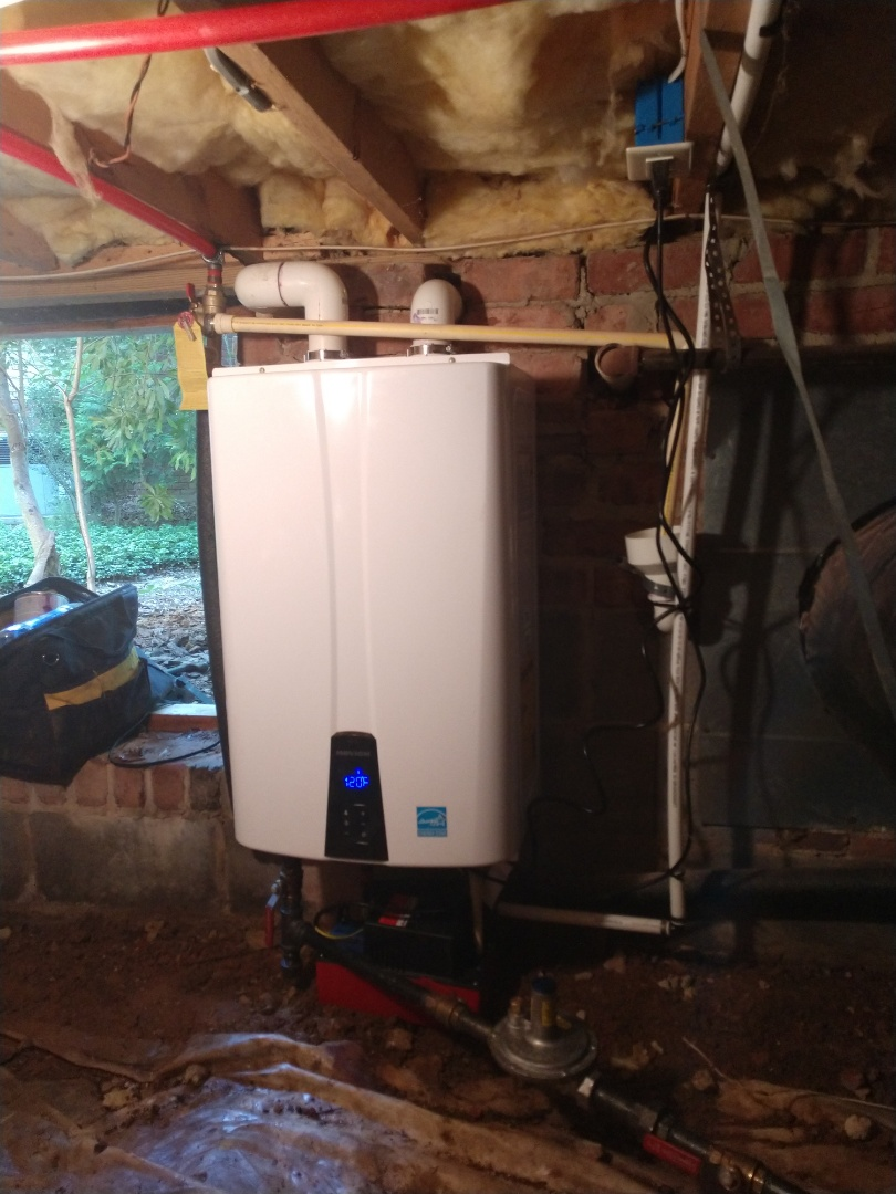Raleigh, NC - Plumber in Raleigh installed a new Navien tankless water heater. Now the homeowners will have on demand hot water.