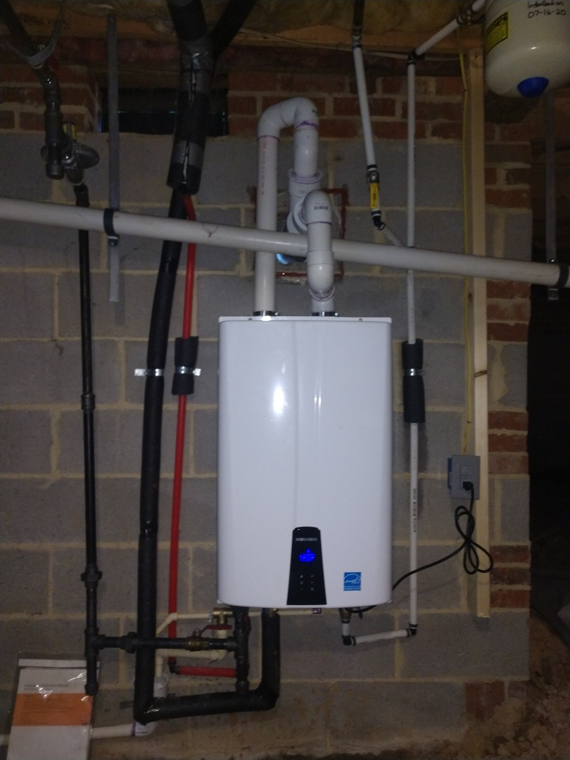 Cary, NC - Plumber in Cary installed a new Navien tankless. Now the homeowners can enjoy on demand hot water.