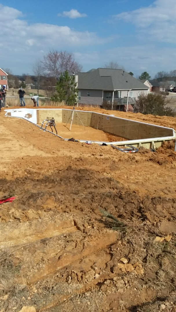18x39 Grecian Lazy L. | Pool Installation in Pelham, AL