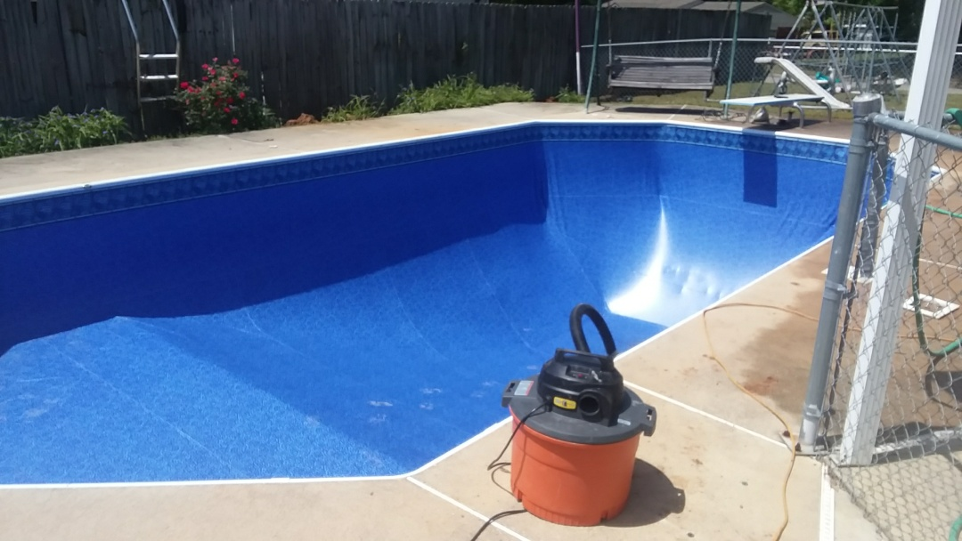 Prattville, AL - New 16x32 Grecian swimming pool liner replacement.