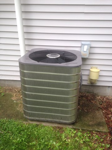 LaGrange, IN - Service call on an air conditioner. Installing a new maytag air conditioner.