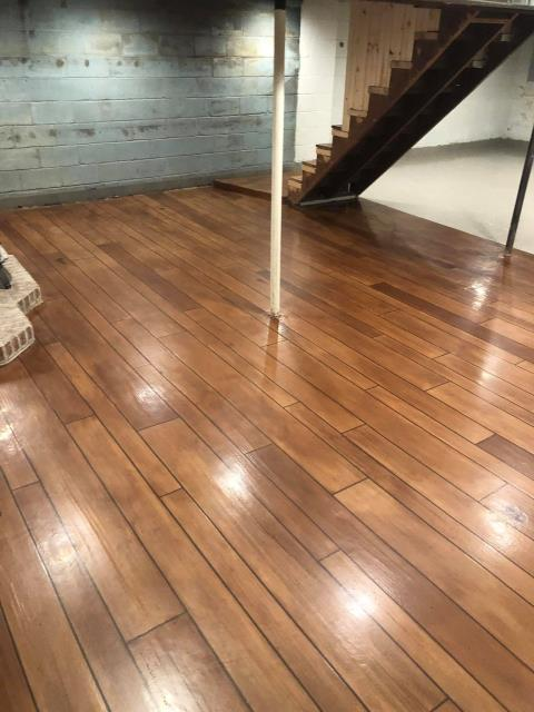 Washington, DC - Concrete Wood is a perfect floor for your basement! Transform your basic basement into a nice hangout for your guest or children! With protection against water, scratches, and stains; this floor will last you years!!