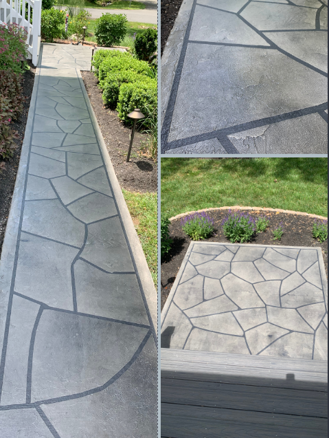 Manassas, VA - Tailored Concrete Coatings are a professional, hardworking, and creative decorative concrete company! They transformed our concrete sidewalk and porch entrance with a beautiful GrandFlagstone design! We wanted a rock look entrances, and Dylan and his crew gave us exactly what we wanted! We received quality work for a very reasonable price.  Thank you!