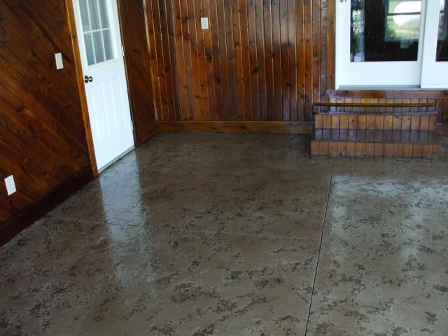 Winchester, VA - This ashlar slate floor turned out amazing. Tailored Concrete Coatings is able to make a decorative floor coating that exact shade you want for a house! These large slate squares are really impressive, they look like real stone, and I can't stop looking at all the different details that are on each one!