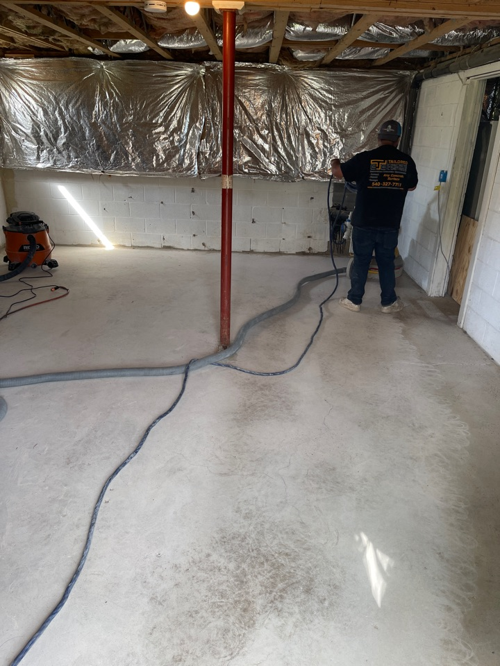 We are prepping today for an epoxy flake coating on this basement floor. Near Ranson West Virginia.