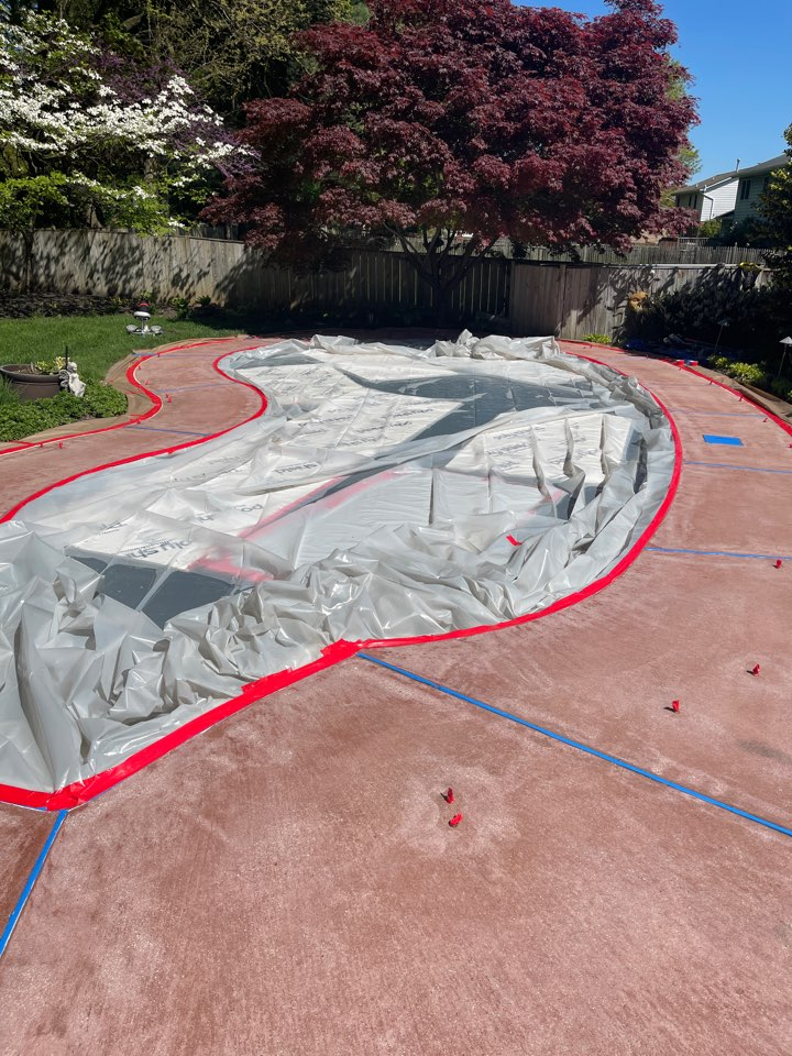 The team is continuing to prep this pool deck before we resurface the concrete. Near Frederick Maryland.