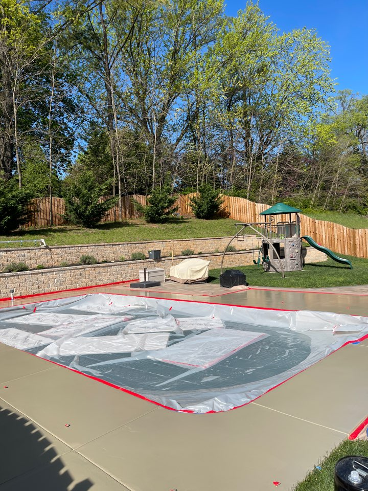 We put a beautiful coating on this concrete pool deck. Near Winchester Virginia.