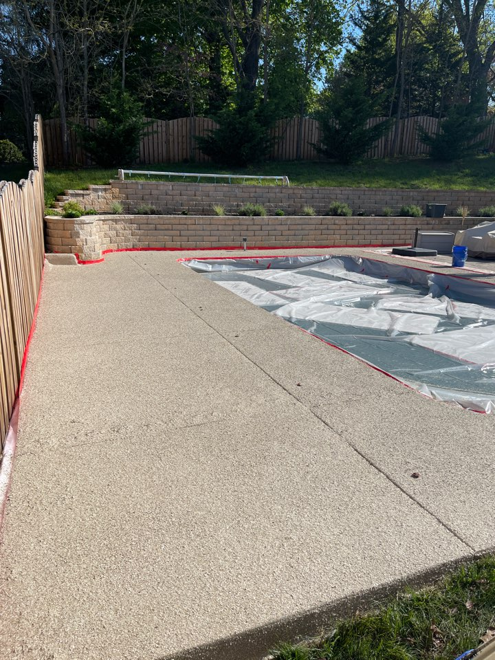 We are wrapping up this pool deck and just finished a flake coating. Near Winchester Virginia.