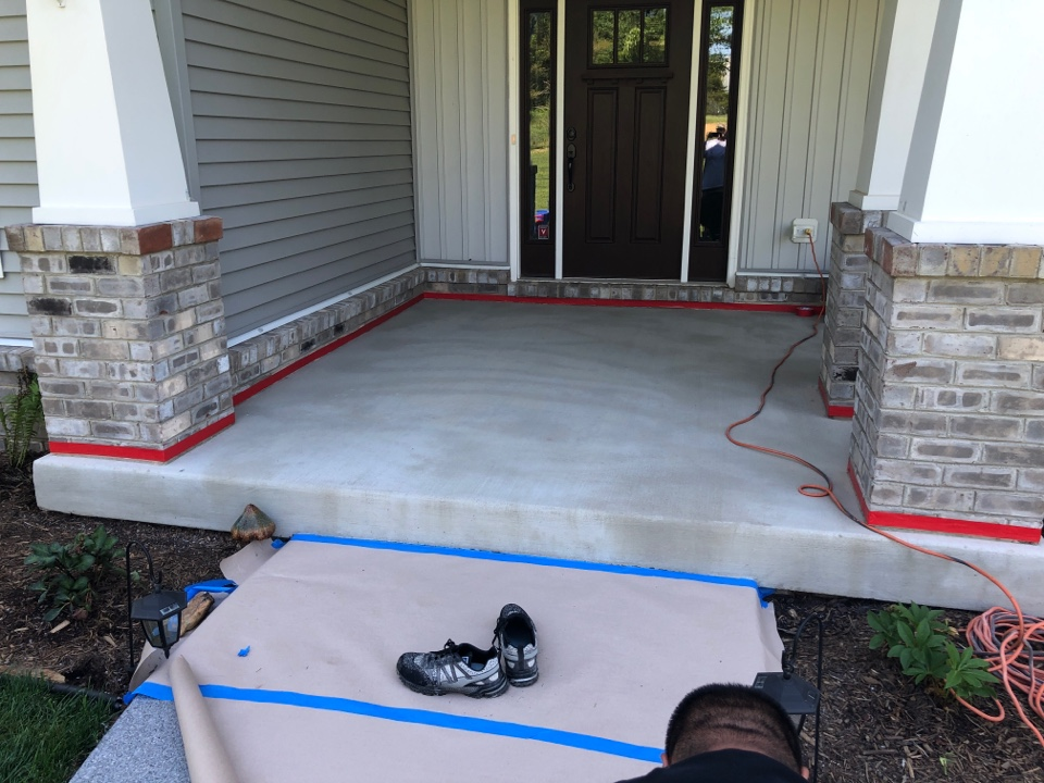 The team has just finished the concrete Prep before first coating. Near Warrenton Virginia