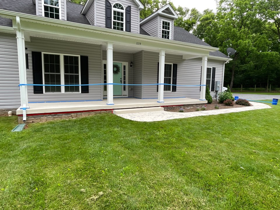 The team will pull the design tape up and then stain the previously applied resin/texture mixture. Near Clear Brook Virginia.