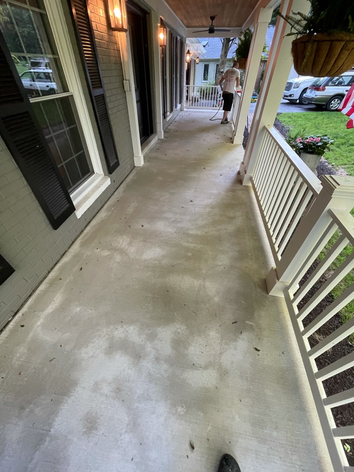 The team is going to power wash the concrete surface and then apply resin coatings. Near Fairfax Virginia