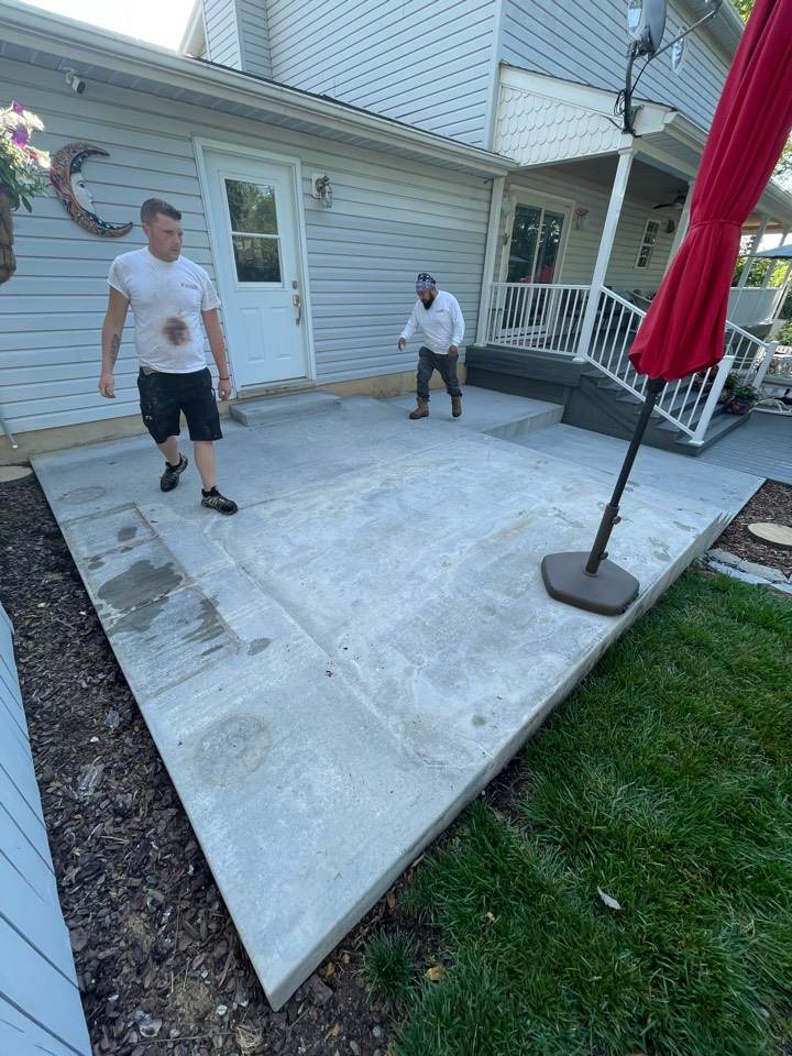 Martinsburg, WV - The team is beginning to Power wash and acid etch this concrete patio. Near Martinsburg West Virginia