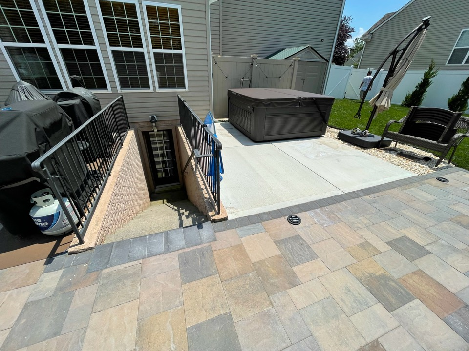 Charles Town, WV - The team just finished Power washing and acid etching this back patio. Near Charles Town West Virginia
