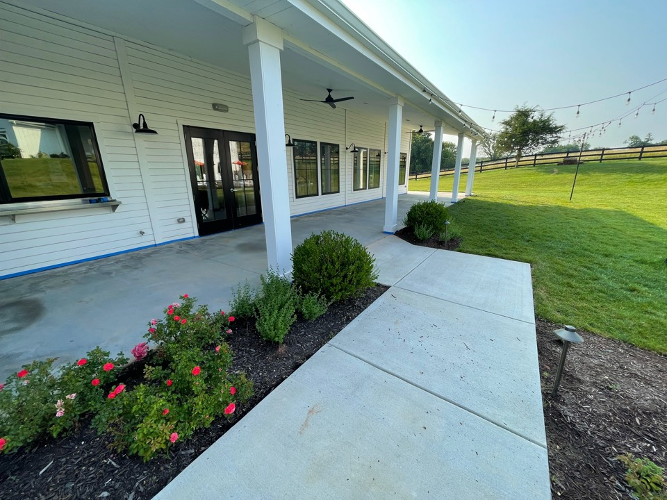 We are repairing this surface as well as applying design tape and texture to this walkway. Near Leesburg Virginia.