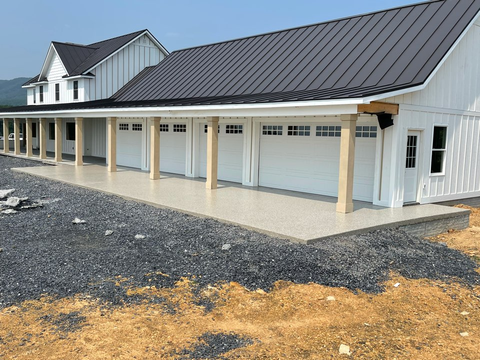 We just completed Graniflex system with Creekbed flake on this concrete patio. Near Strasburg Virginia.