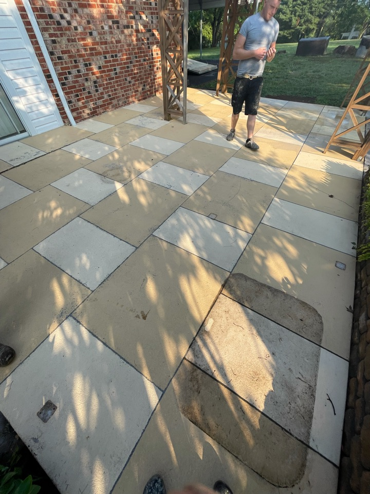 The team is working on surface prep for this decorative concrete project. Near Middletown Virginia.