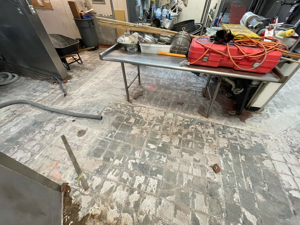 The team is working on the surface prep of our next decorative concrete coating project. Near Great Falls Virginia.