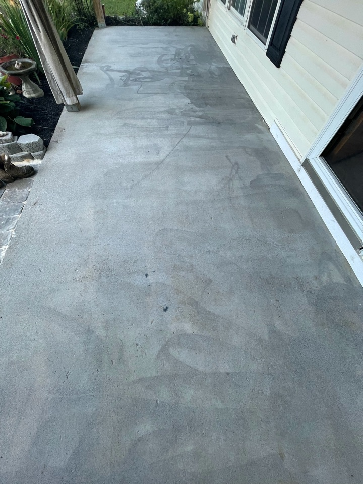 The team has gotten a basecoat application down for this concrete patio. Near Winchester Virginia.