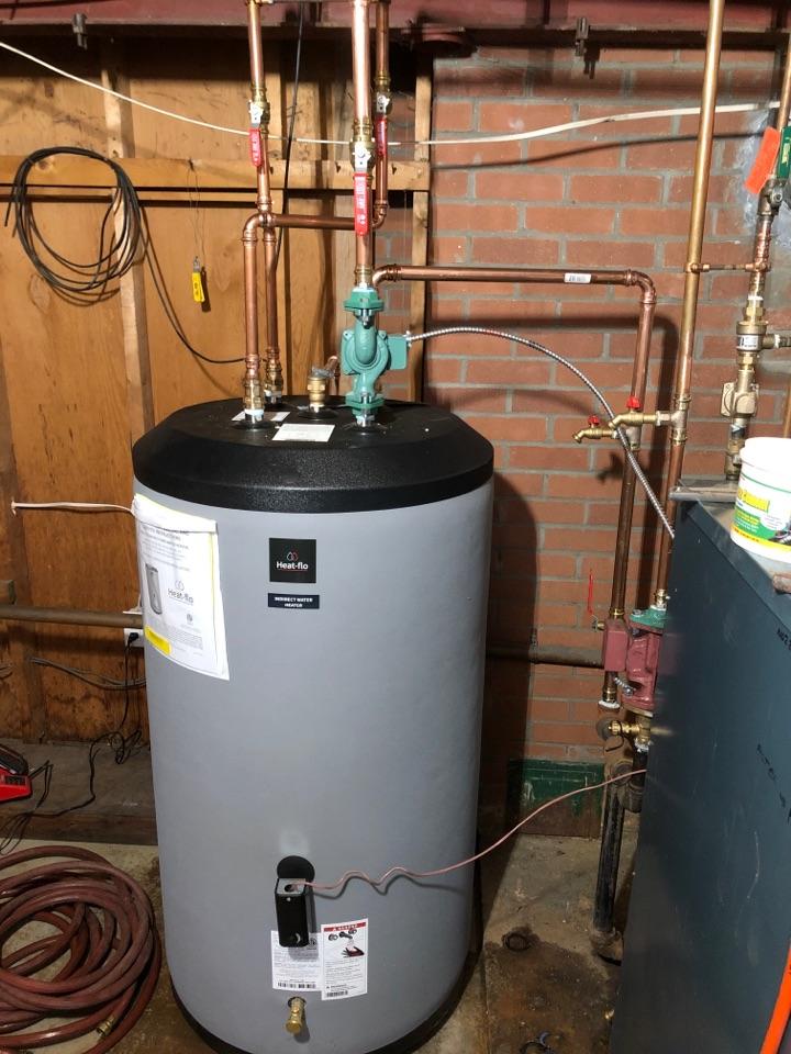 West Hartford, CT - Installing 80 gallon Heat-flo indirect hot water heater.