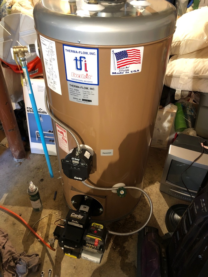 Berlin, CT - Performing annual maintenance on Everhot oil fired water heater.