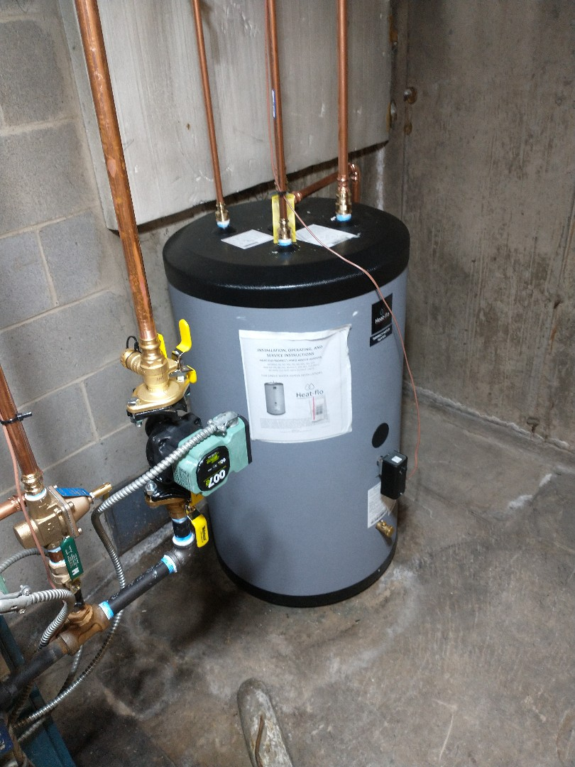 Southington, CT - Installing a 40 gallon indirect water heater by heat flo.