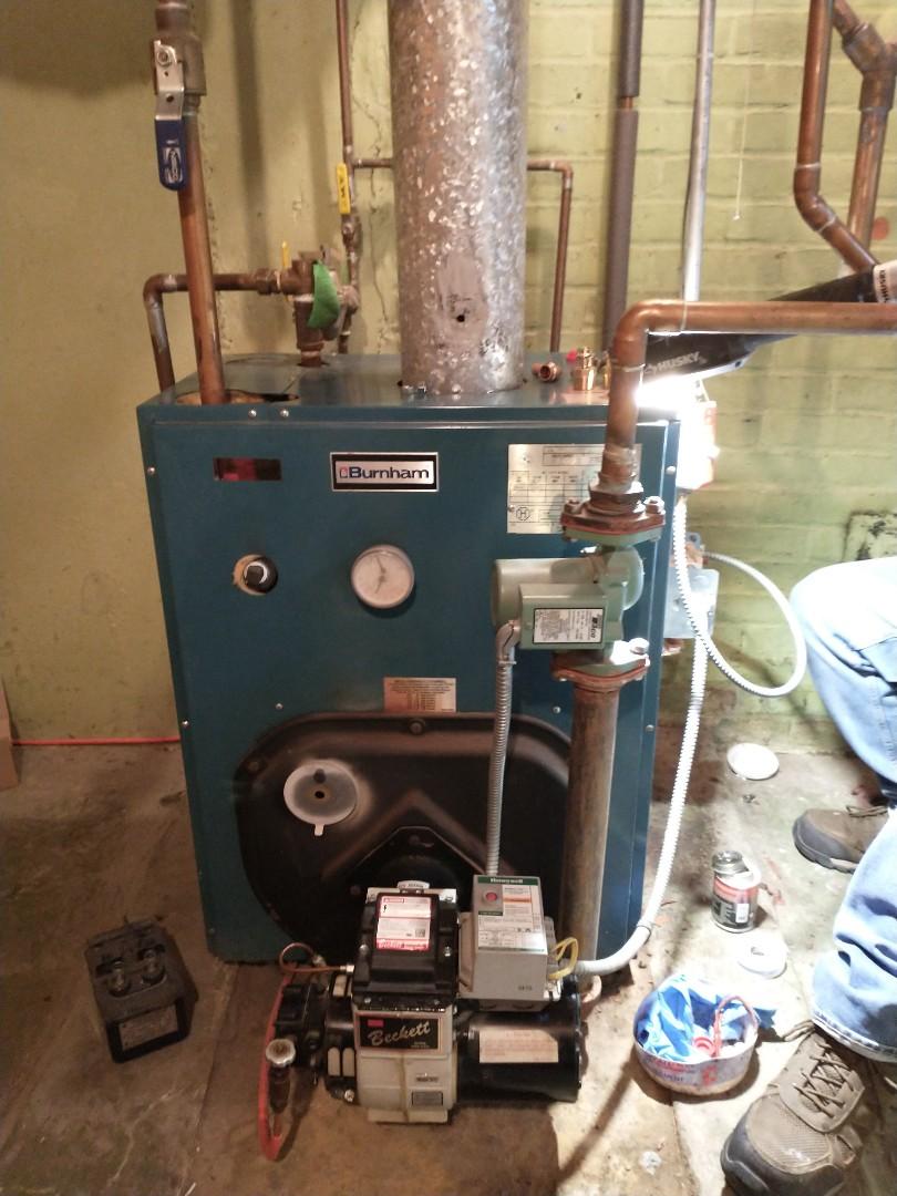 Bristol, CT - Replacing tankless coil on Burnham oil boiler.