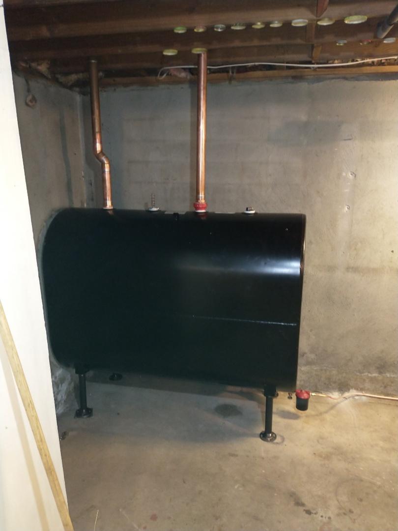 Newington, CT - Installing a 275 gallon Granby oil tank.