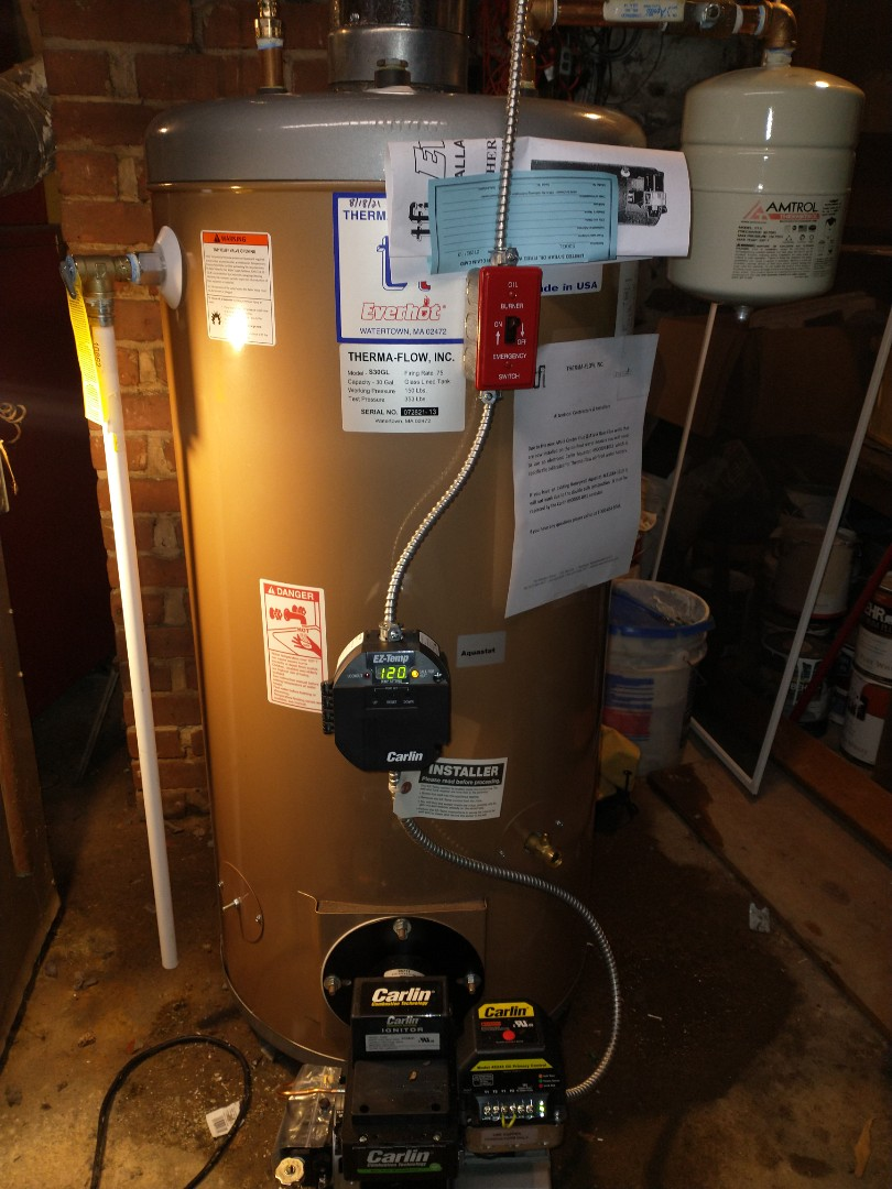Bristol, CT - Installing a 30 gallon oil fired water heater with a Carlin burner.