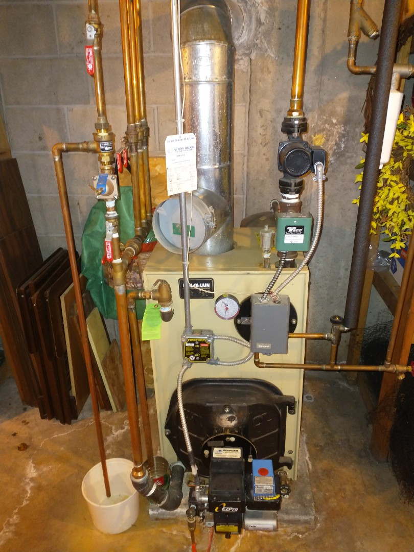 Southington, CT - Performing annual on a Weil McLain oil boiler with a Carlin burner.