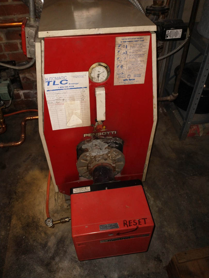 Newington, CT - Performing annual maintenance on a pennsotti oil boiler with a riello burner.