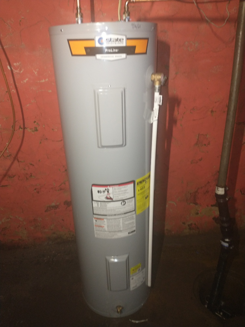 New Britain, CT - Replacing 40 gallon electric water heater that got flooded with a new state electric water heater.