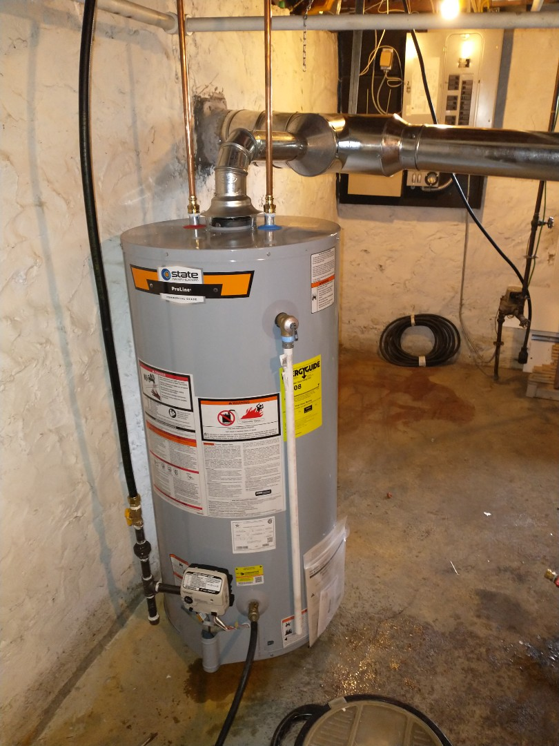 New Britain, CT - Installing a state 40 gallon natural gas water heater.