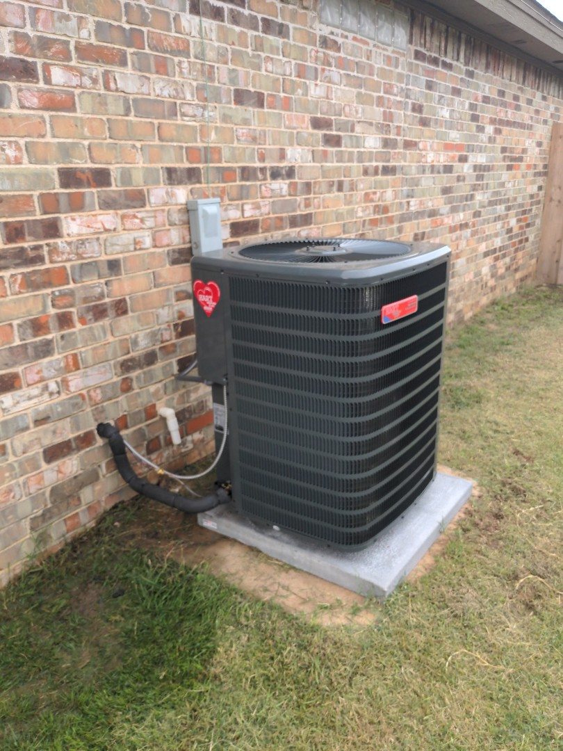 Installing a Goodman 4ton 16 seer heat pump condenser with a matching air handler upgraded condenser with turbo dual capacitor, and a hard start compressor kit, on the air handler put a float safety switch on the pan and re built some of the primary drain that needed it.