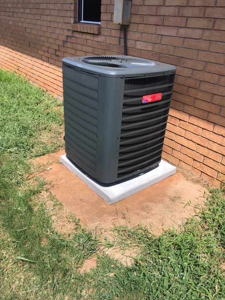 Installed a Goodman furnace and coil. And a 3 1/2 Goodman condenser. We upgraded the electrical distribution. Installed a new whip and pad. And added vibration dampers under it.