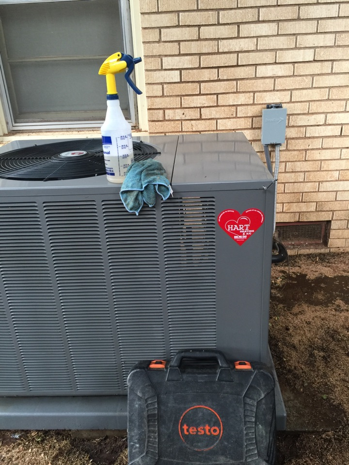 Brownfield, TX - AC maintenance. Clean and service AC system. Do fall maintenance on Rheem furnace and change media air filter on high efficiency Aprillaire whole house air cleaner