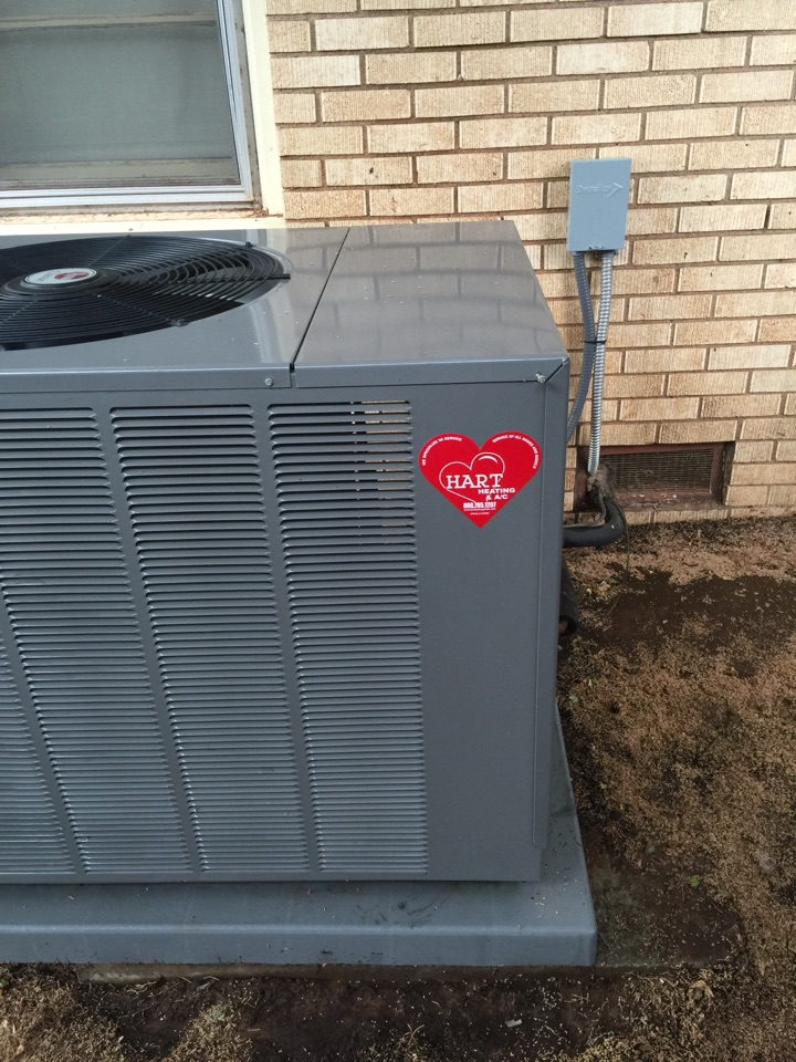 Brownfield, TX - Maintenance for a Rheem heating and AC system. Change the Aprillaire media filter on a high efficiency whole house air cleaner and washed and cleane the outside AC unit