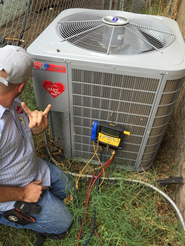 Slaton, TX - Heater service. AC service. Check function and operation. Fixed indoor duct work. Replaced faulty contactor and compressor kick start. Replaced dirty air filter. Check filtration and air quality.
