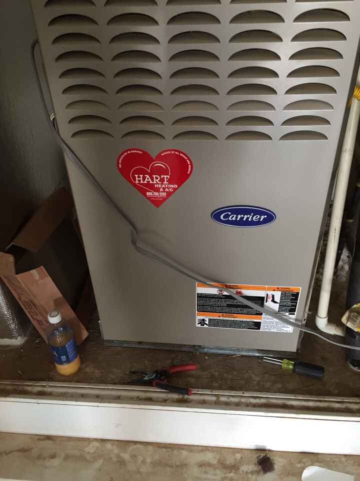 Slaton, TX - Heater repair. Check heater functions and operations. Clean inside and outside unit. Clean and check flame sensor on Carrier furnace and condenser.